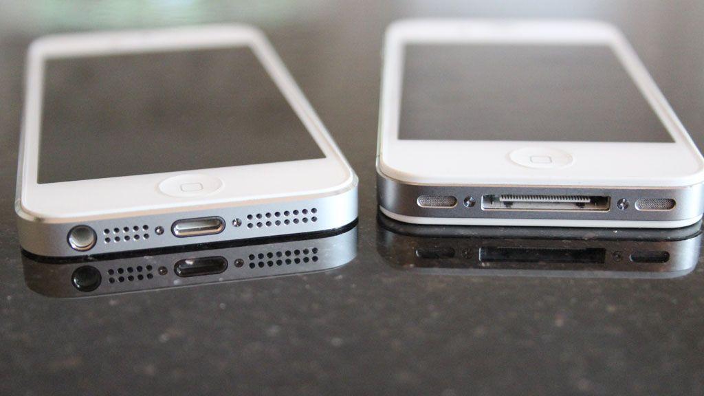 iPhone 5 til venstre.Foto: Espen Irwing Swang, Amobil.no