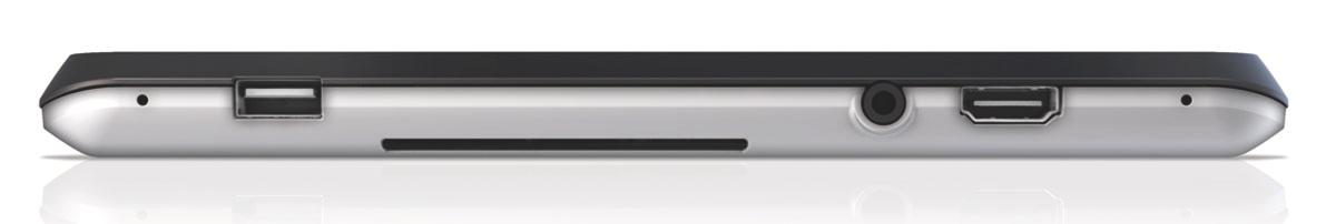 På venstresiden: To mikrofoner, USB 2.0, SmartCard, lydutgang og HDMI
