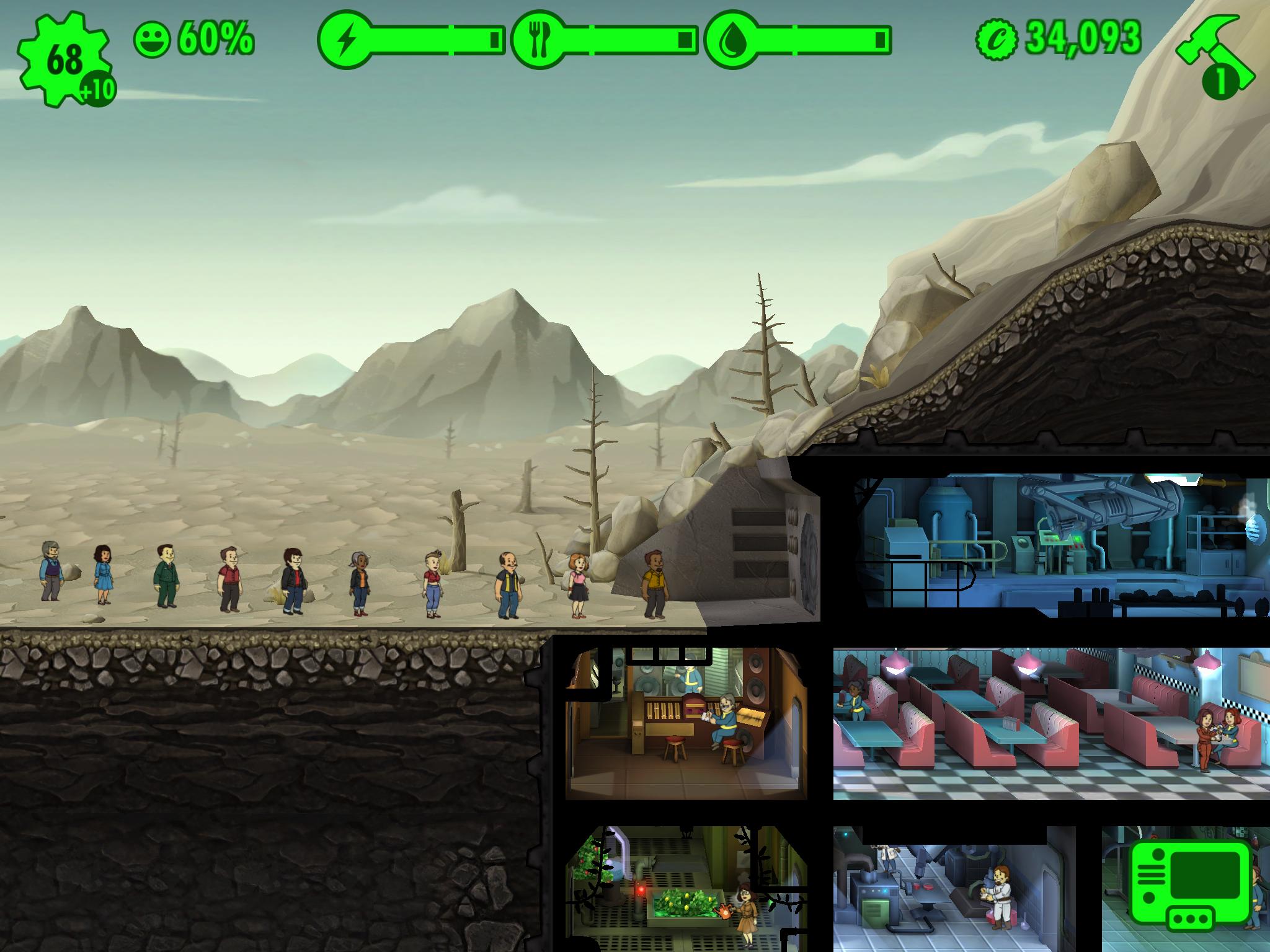 De overlevende stiller seg pent i kø for å komme inn i komplekset du har laget. Foto: Bethesda