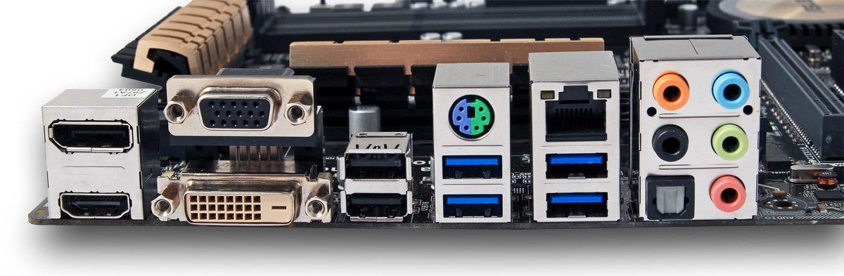 Alle de viktigste tilkoblingsmulighetene er på plass på baksiden av dagens testhovedkort.