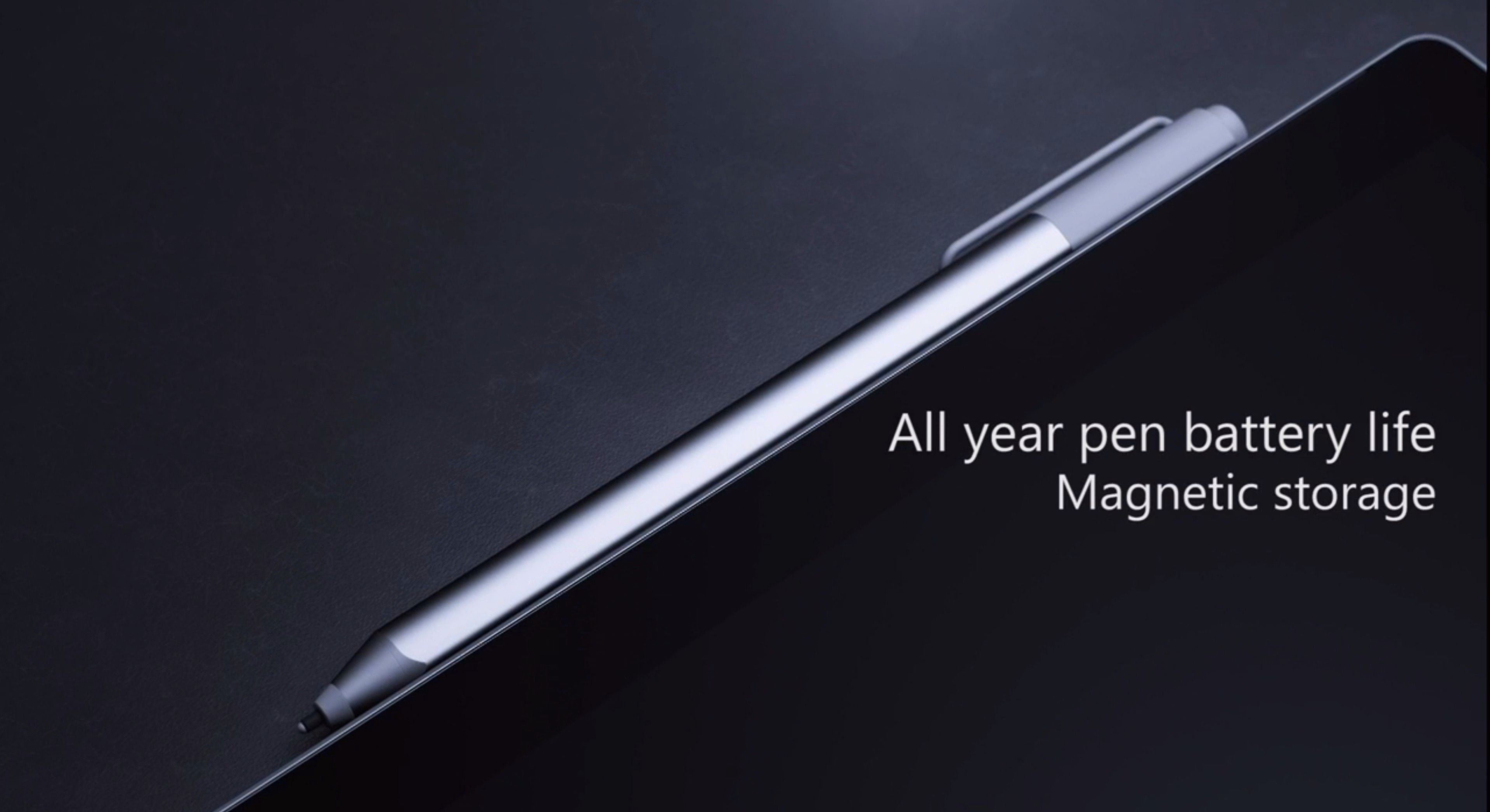Pennen kan festes til toppen av Surface Pro 4, og lades automatisk derfra. Foto: Microsoft, skjermdump fra video