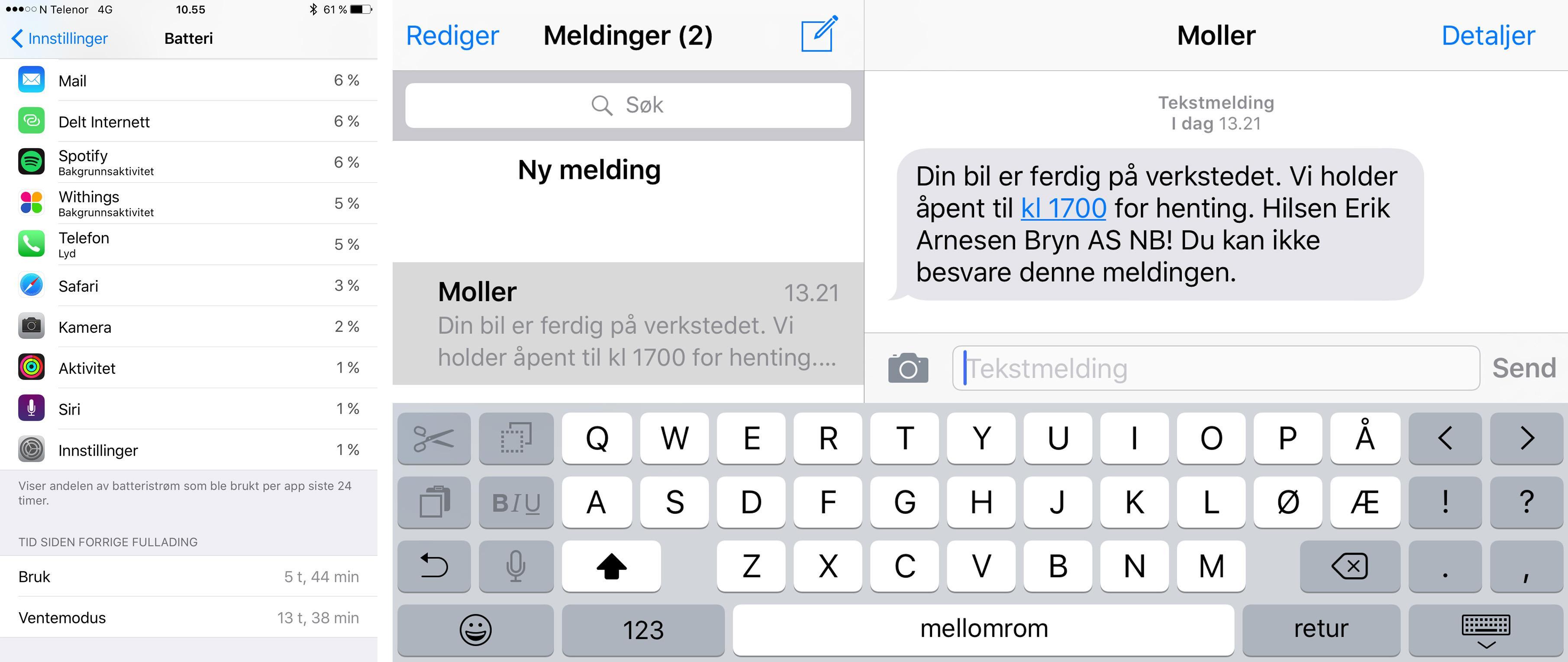 Ved siden av den vesentlig større skjermen er batteritiden den viktigste fordelen ved å gå for iPhone 6S Plus over den vanlige modellen. Ellers er de fleste endringene ganske små, som et liggende tastatur med litt flere valg. Foto: Finn Jarle Kvalheim, Tek.no
