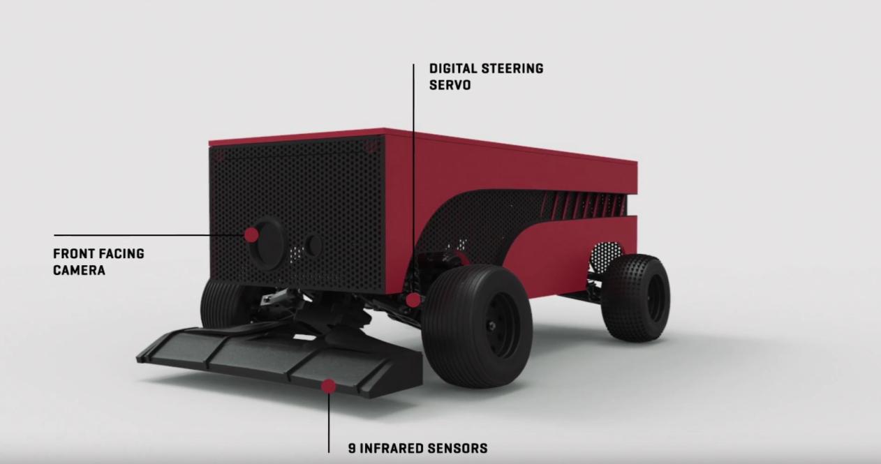 Roboten er utstyrt med infrarøde sensorer som gjør at den kan følge linjer på bakken.