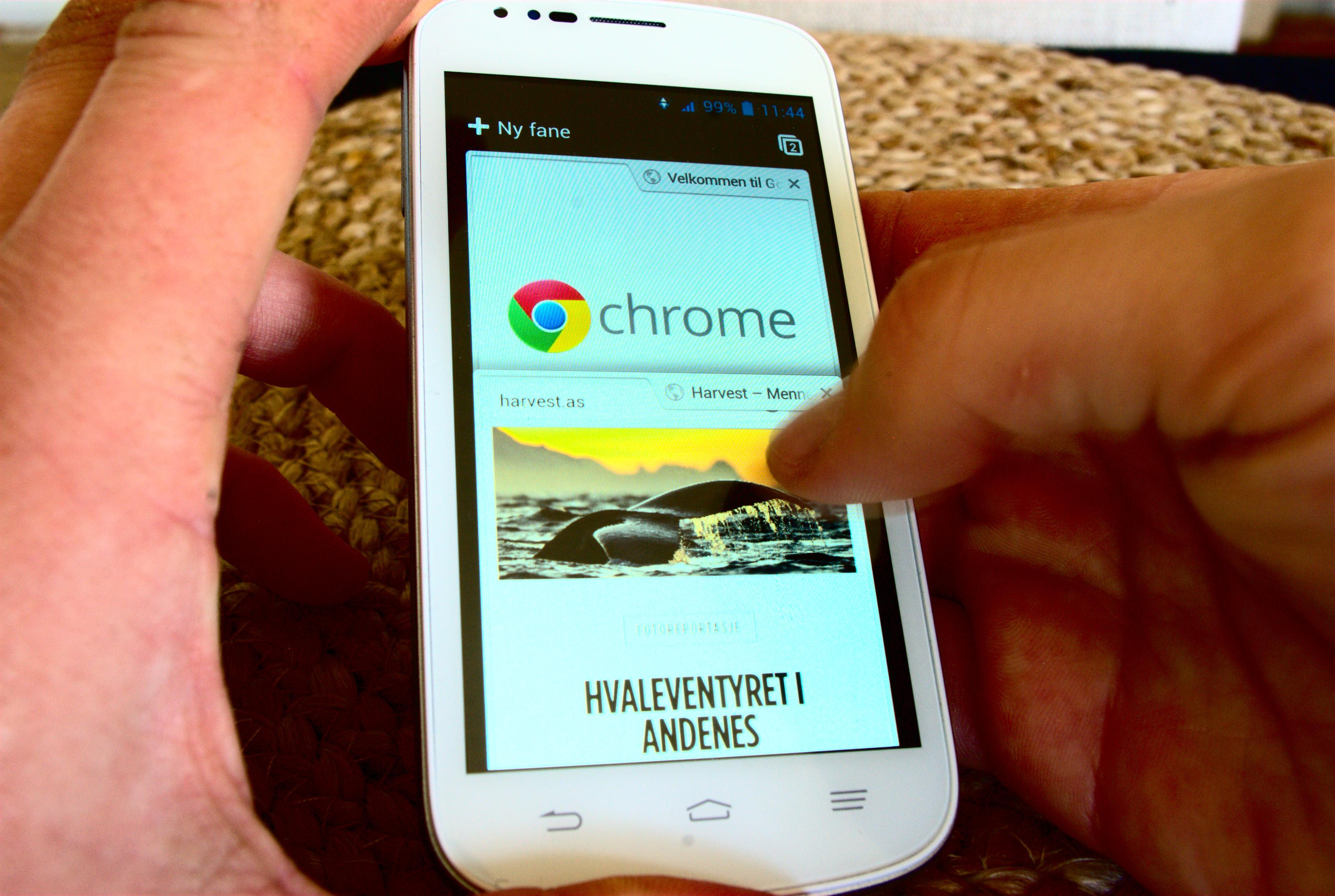 Chrome er en god mobilnettleser. Foto: Einar Eriksen