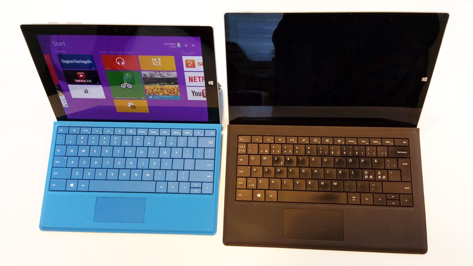 Microsoft Surface Pro 3 (til høyre) har fått en lillebror. Den er atskillig rimeligere, men kjører likevel full Windows 8.1, og har samme skjermpenn som Pro-modellen. Foto: Espen Irwing Swang, Tek.no