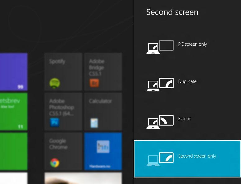 Trykker du Windowstast + P får du opp en enkel oversikt over hvordan du kan dele skjermbildet.