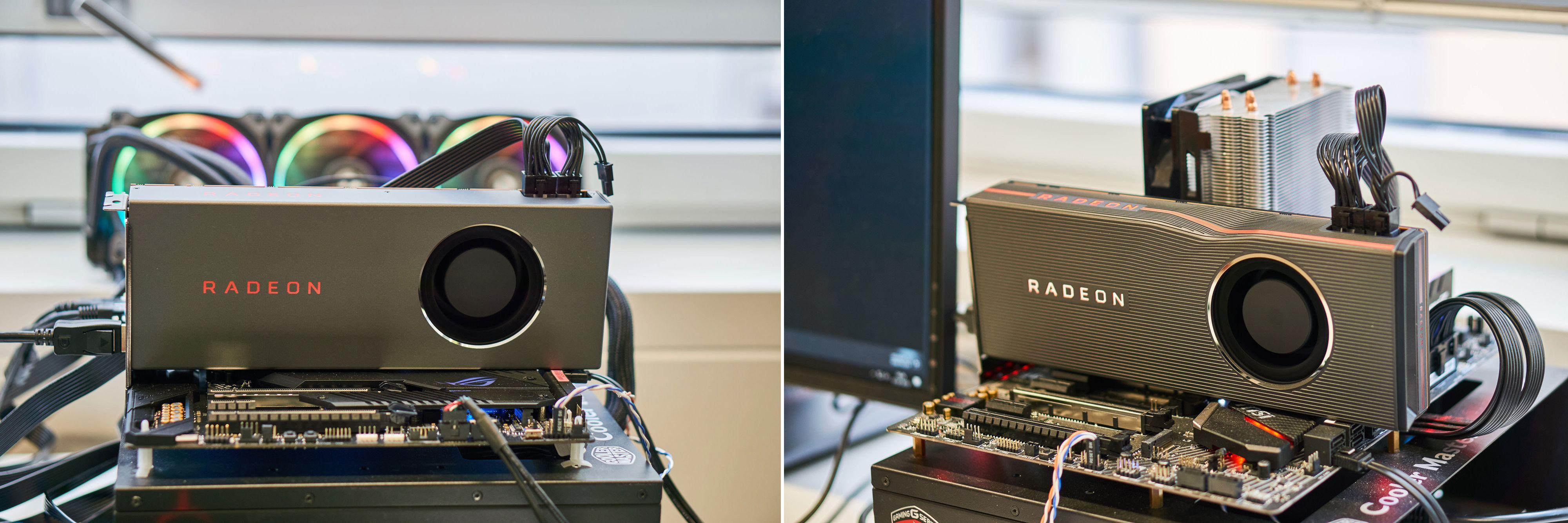 RX 5700 til venstre, RX 5700 XT til høyre.