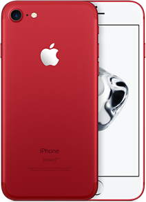 Den røde iPhonen har hvit front.