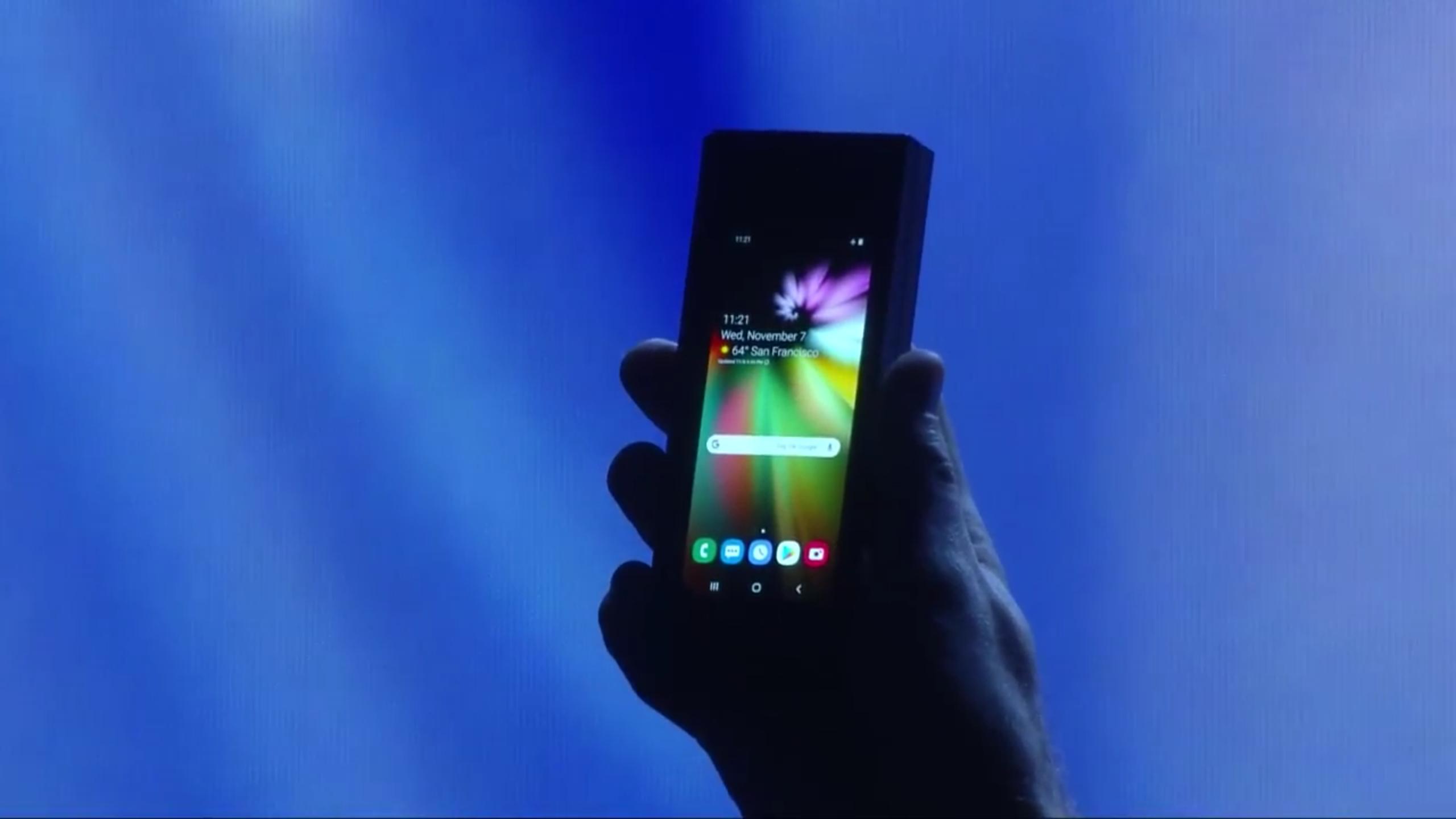 Slik ser frontskjermen på en brettbar telefon ut...