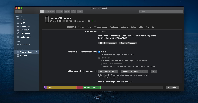 Uten iTunes skjer synkronisering av iOS-enheter fra Finder.