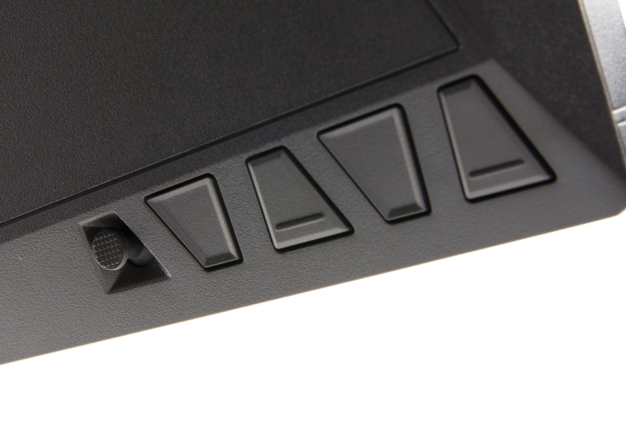 Fire knapper og en joystick brukes for å navigere i skjermmenyen.