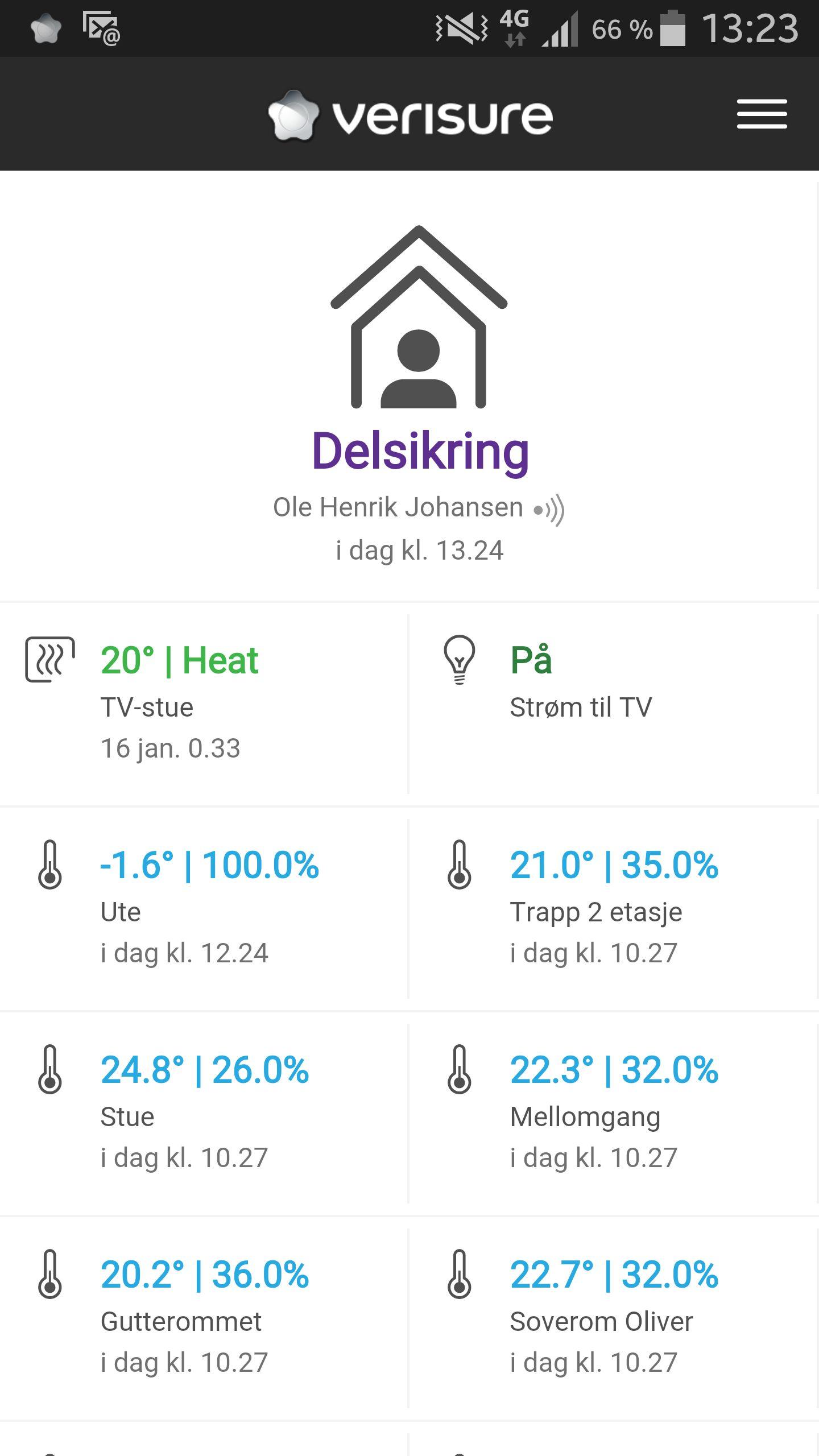 Appen gir deg oversikt over hvordan det står til hjemme. Merk delen som kan velge varme, noe vi kommer tilbake til i del 2. Foto: Ole Henrik Johansen / Tek.no