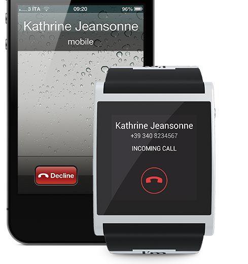 Innkommende samtaler dukker opp på klokken. Foto: I'm Watch.