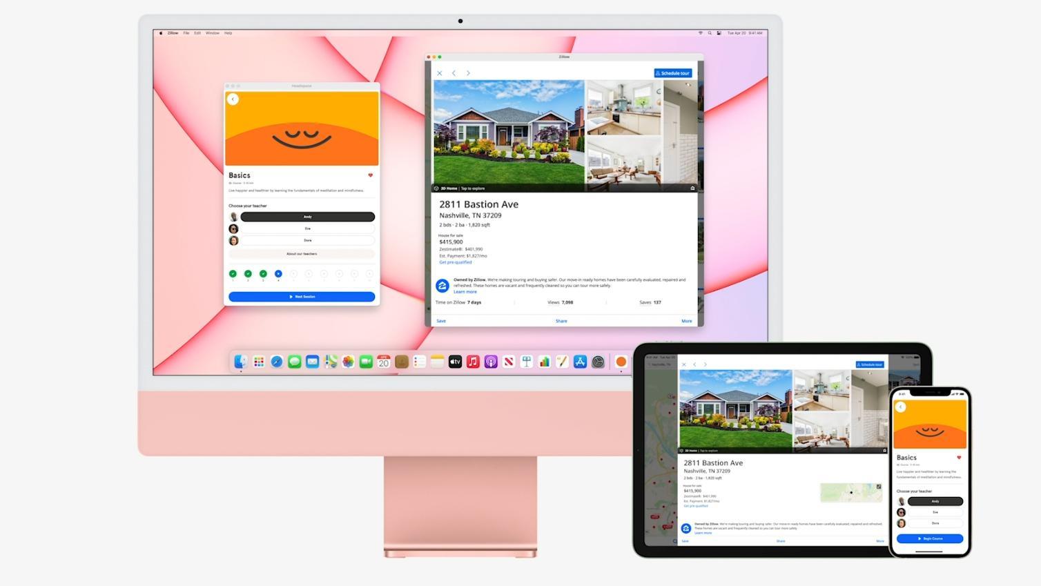 De M1-baserte iMacene lar deg kjøre iPad- og iPhone-apper på seg, samt veksle mellom å jobbe i dem på datamaskinen og de bærbare enhetene.