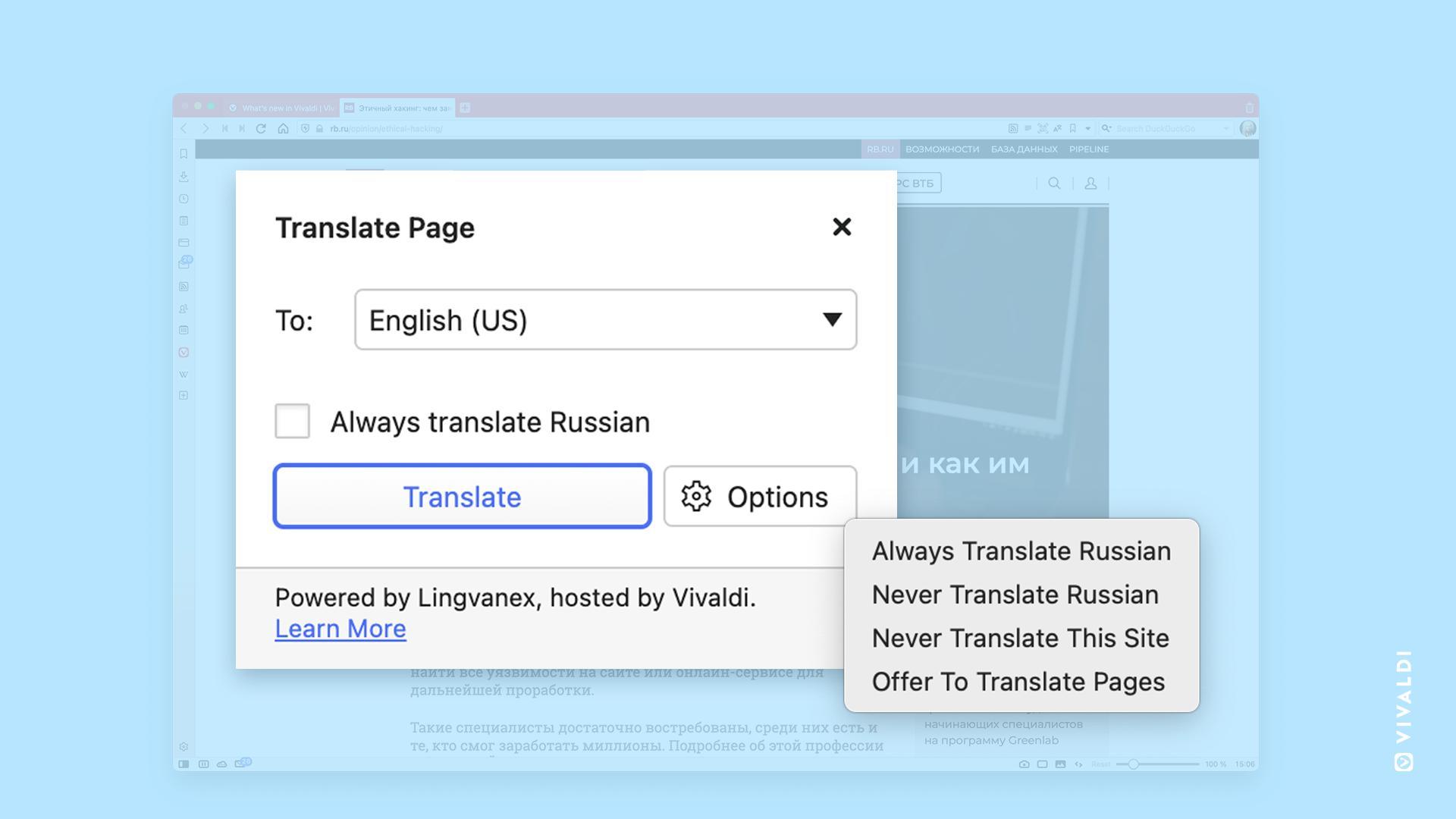Oversetter-funksjonen er laget i samarbeid med selskapet Lingvanex.