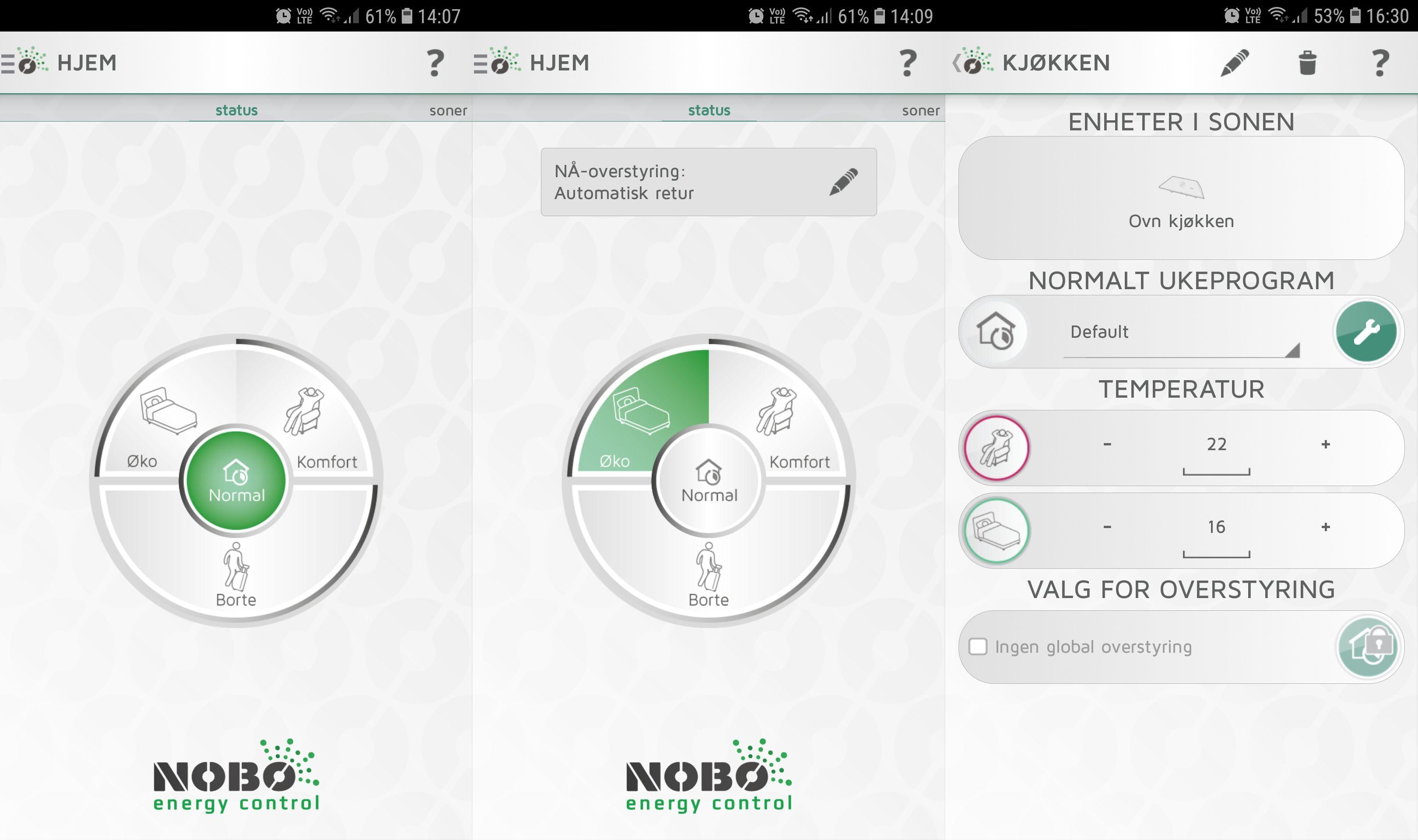 Nobø-appen er visuelt sett veldig oversiktlig, og i tillegg brukervennlig.