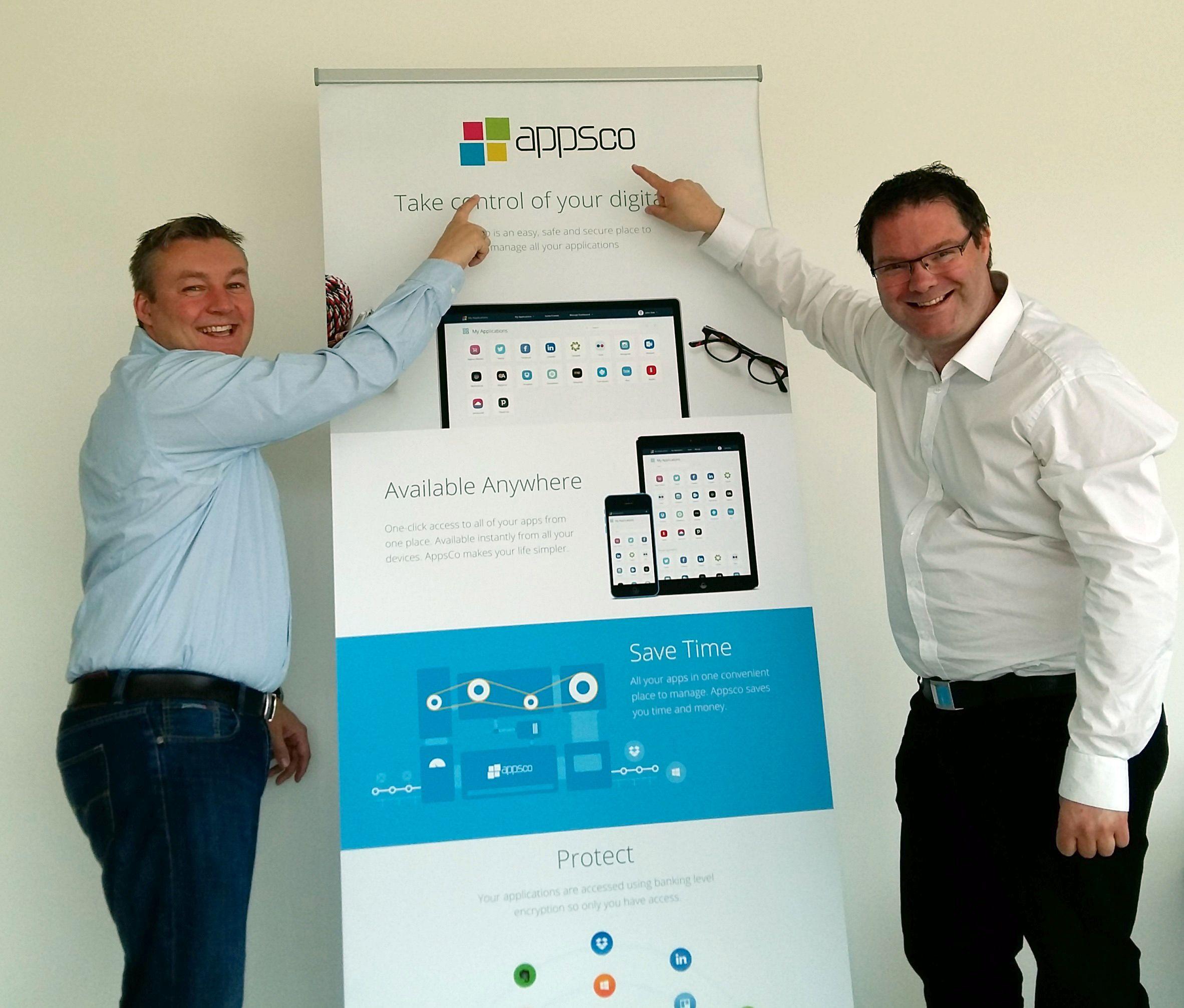 Gründerne Geir Christian Karlsen (t.v.) og Frode Stenberg i Appsco. Foto: Appsco