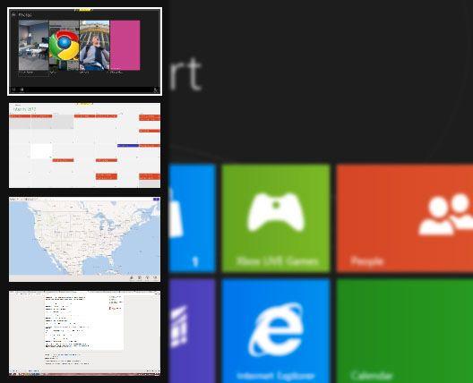Du får opp Switcher ved å trykke på Windowstast + Tab.