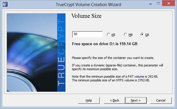 Neste skritt er å velge hvor stor plass den krypterte beholderen skal ha. Vi tenker at 50 GB holder for å ta vare på dokumentene våre – men det blir nok litt for stort til nettskyen.