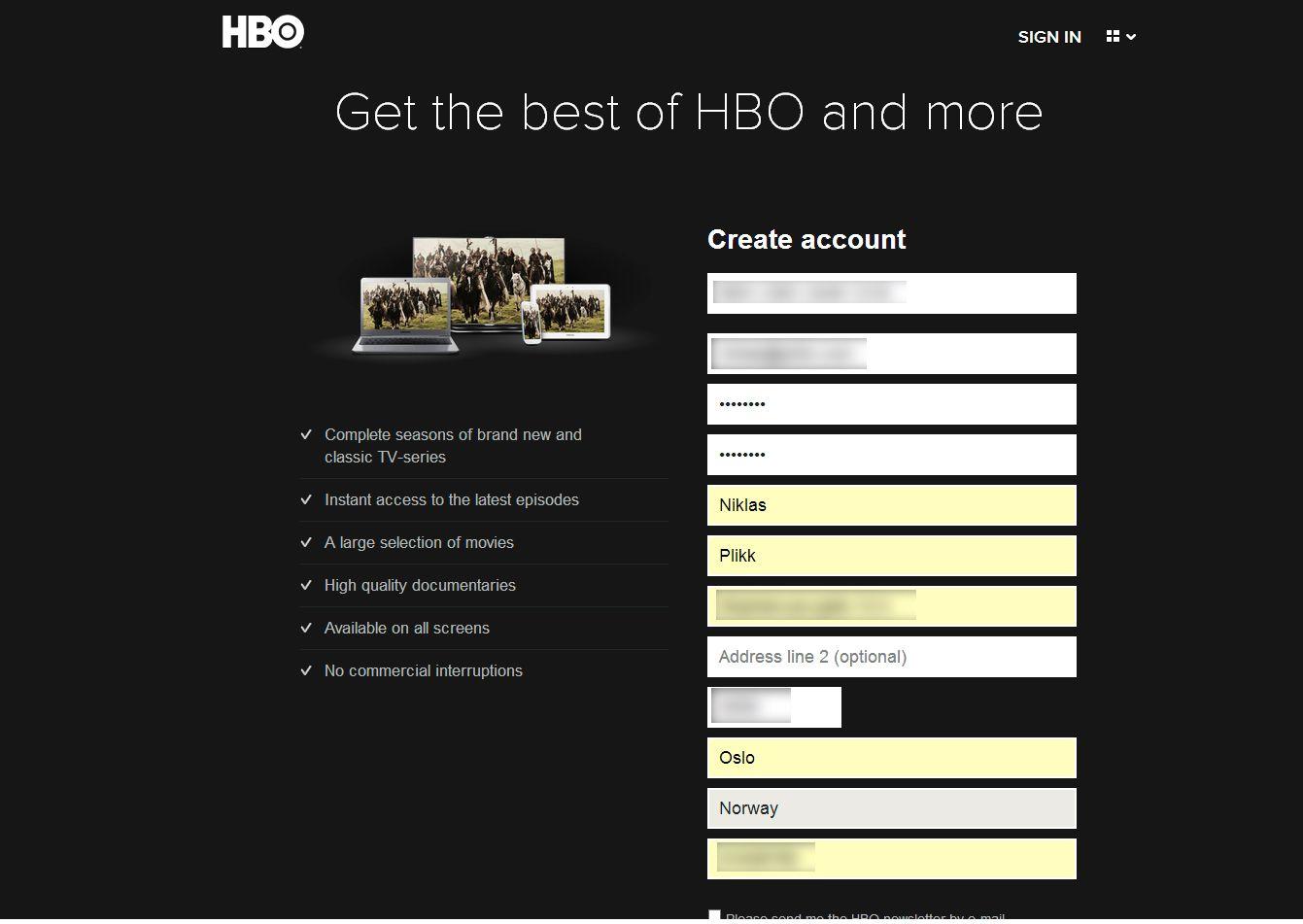 Registreringen var rask og enkel.Foto: Hardware.no/HBO Nordic