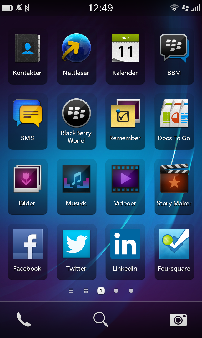 Slik ser applikasjonsmenyen i BlackBerry Z10 ut.Foto: Finn Jarle Kvalheim, Amobil.no