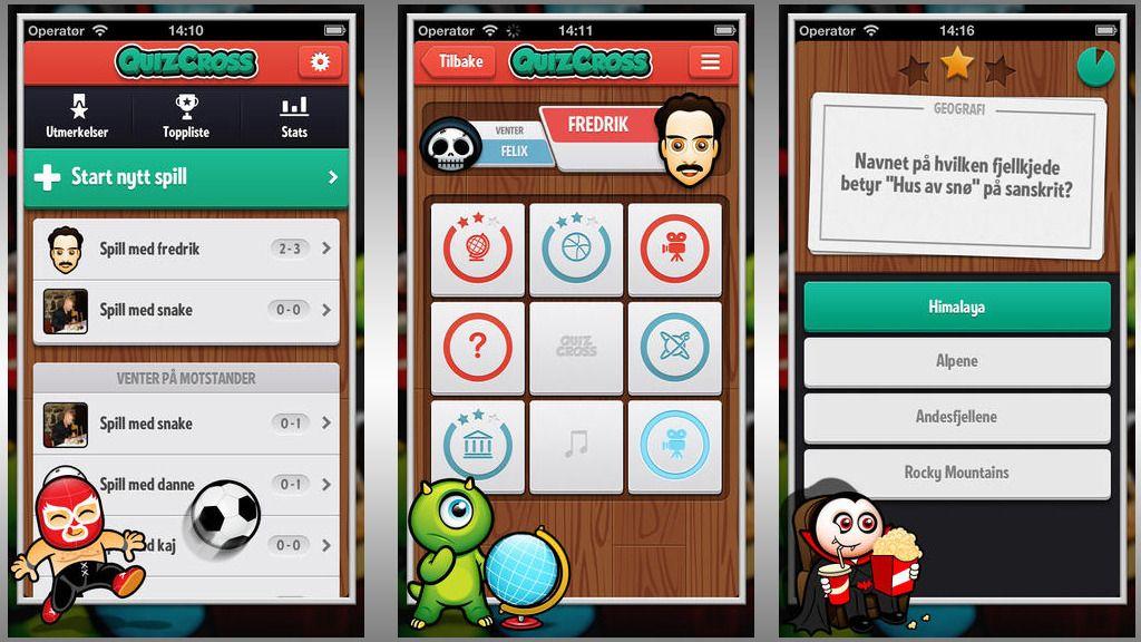 Quiz og «tre på rad» i ett og samme spill.