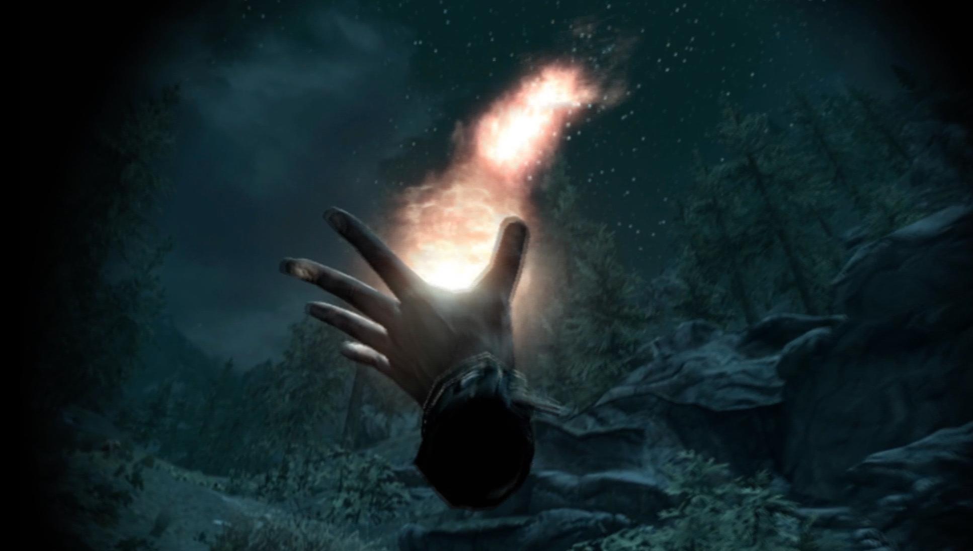 Nytt i VR er muligheten til å kaste magi i alle retninger. Det er praktisk for kontinuerlig magi (for eksempel Flames), men kan være vanskelig å sikte for prosjektilbasert magi (for eksempel Firebolt). Bilde: Stein Jarle Olsen, Tek.no