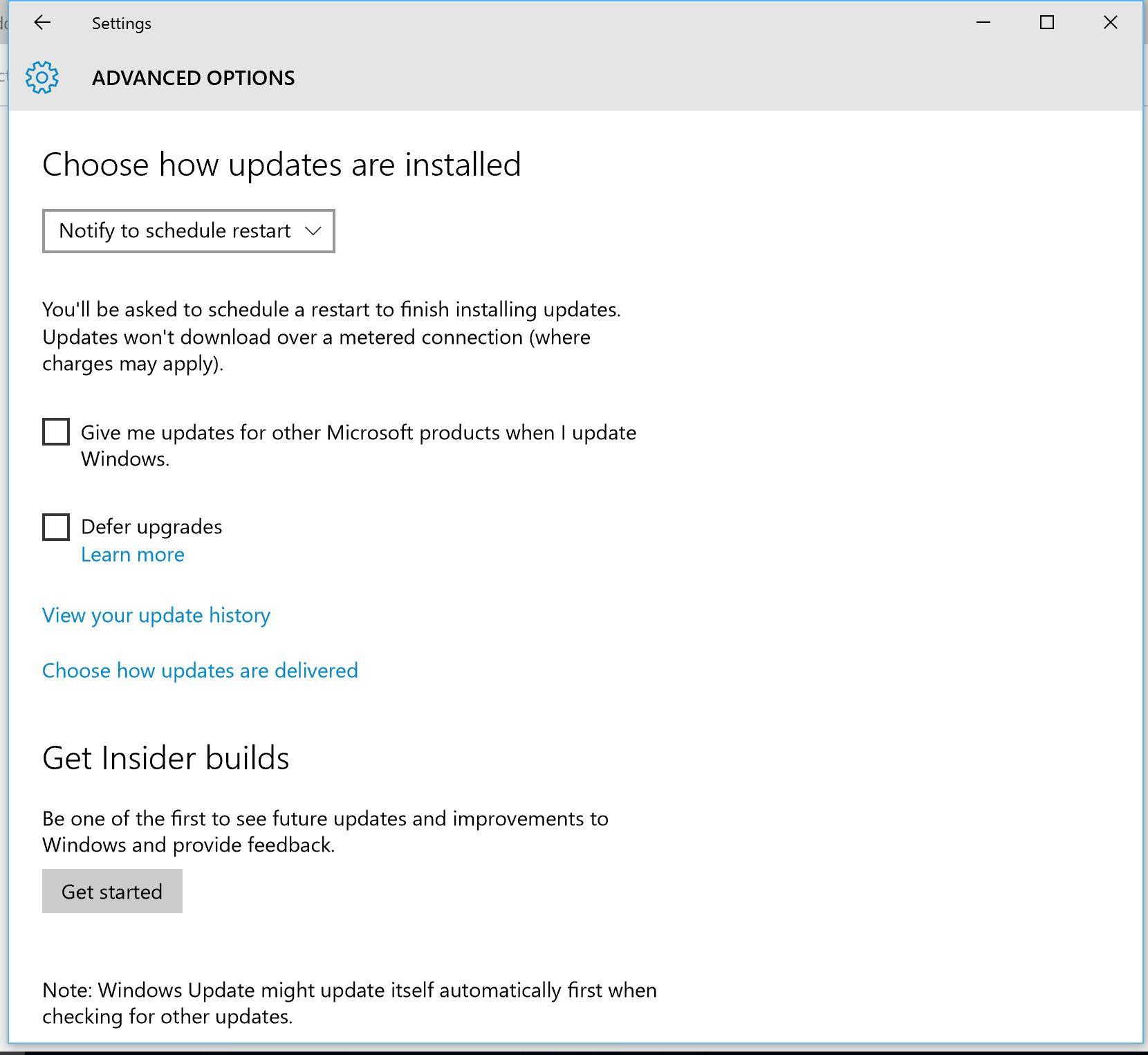 Du får gjøre noen oppdateringsvalg selv, men de viktige oppdateringene lar seg ikke hoppe over med Windows 10. Foto: Finn Jarle Kvalheim, Tek.no