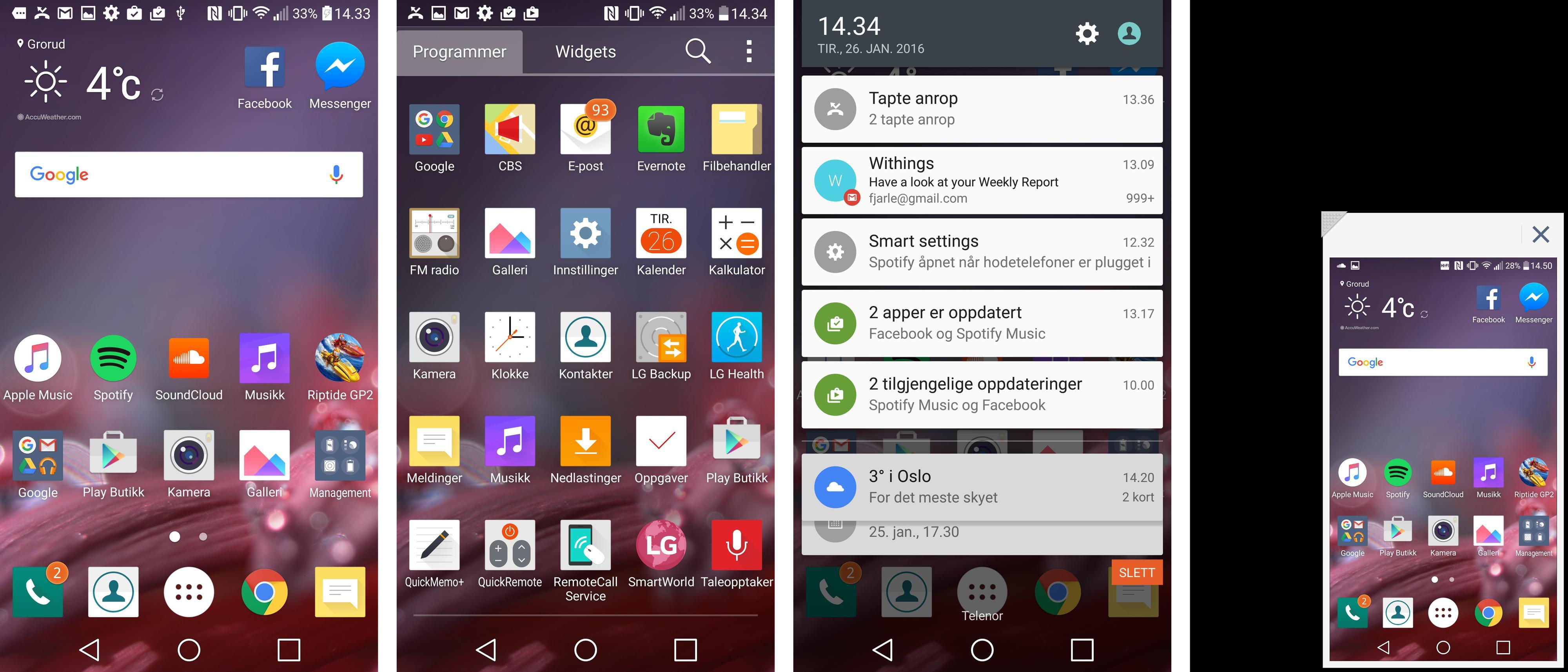 LGs versjon av Android-menyene er enkle og greie, men ser litt annerledes ut enn Googles originale. Synes du skjermen er for stor? Krymp skjermbildet ved å trekke i snarveisfeltene nederst.