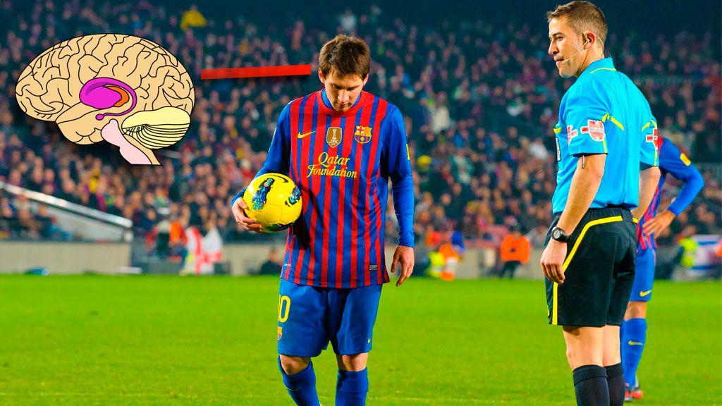 Ytre stratium aktiveres når Barcelona-spiller Lionel Messi skal ta straffespark.Foto: Montasje: Shutterstock/Wikipedia/Teknofil