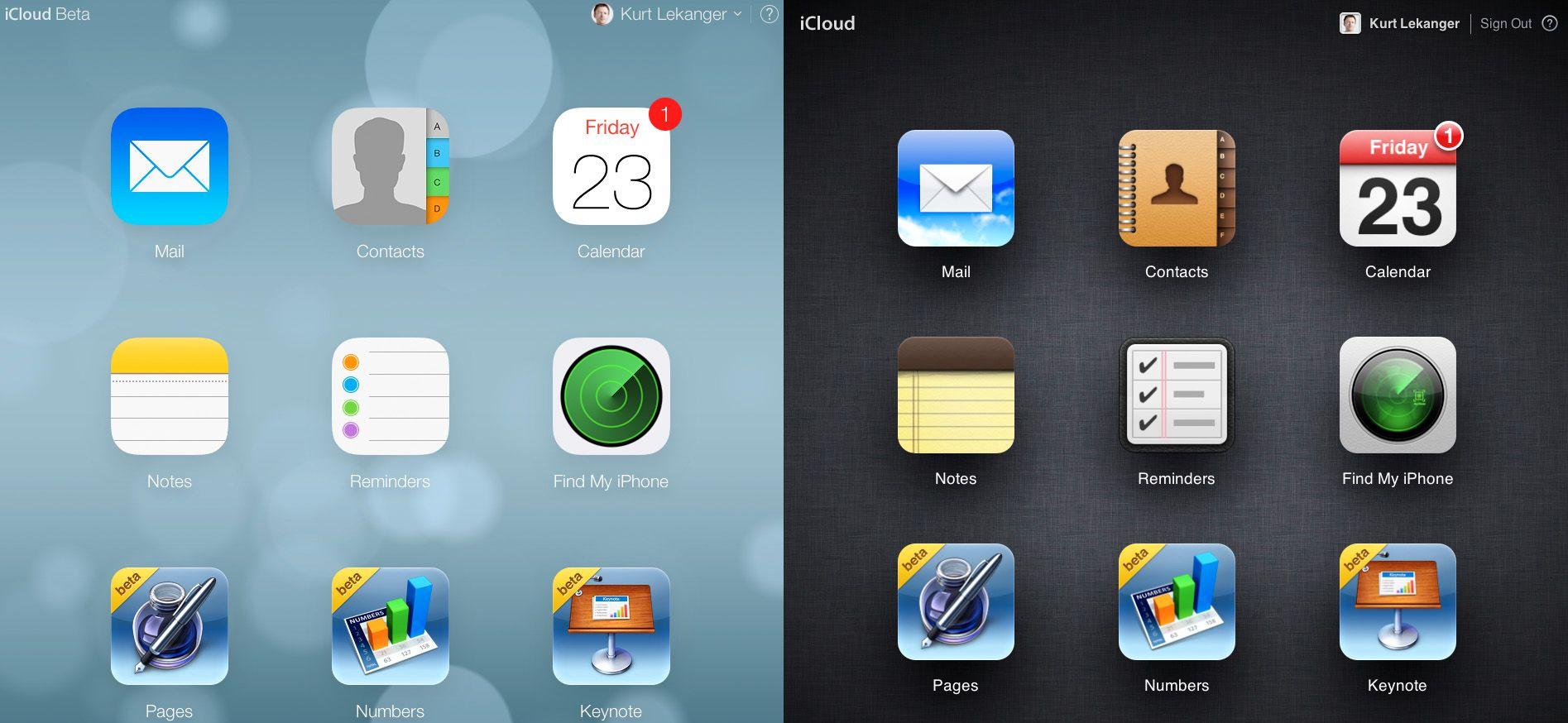 Slik ser den nye og den gamle versjonen av iCloud ut ved siden av hverandre.