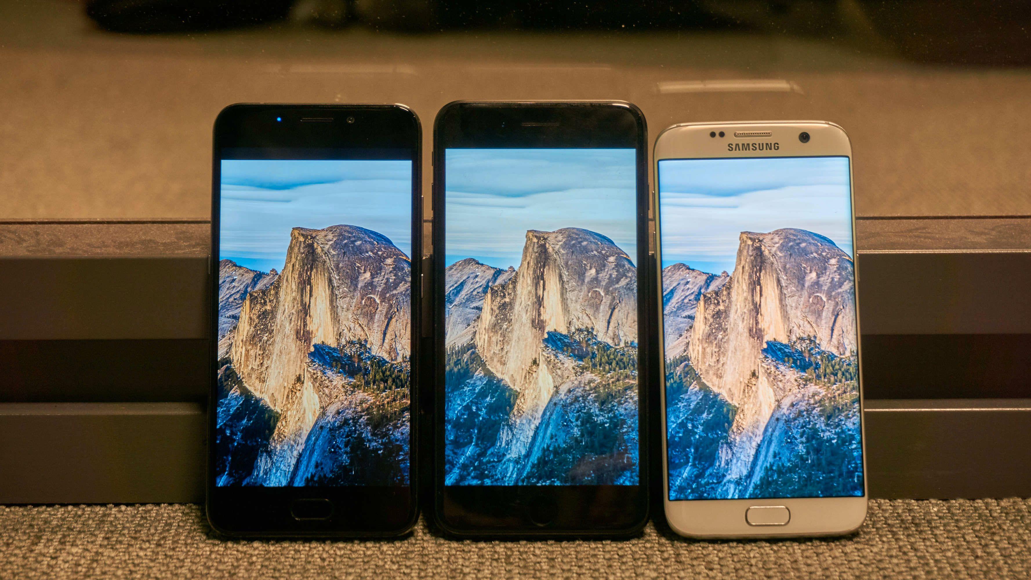 Samme bilde og maks lysstyrke på UMi Plus, iPhone 7 Plus og Galaxy S7 Edge.
