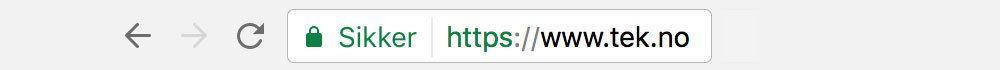 Ser du en hengelås i adressefeltet i nettleseren kan du være sikker på at HTTPS er aktivert.