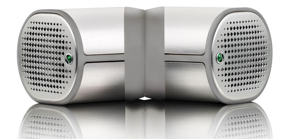 Disse minihøyttalerne, MPS-100, skal ifølge Sony Ericsson gi kraftig lyd.