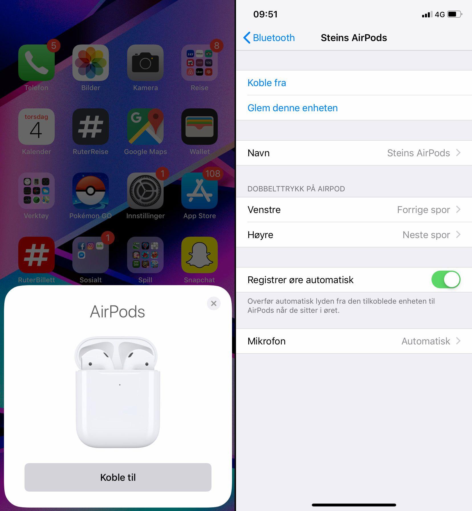 Tilkoblingen er superenkel om du har en iPhone. Der får du også tilgang til innstillingene via bluetooth-menyen. På Android får du ingen av delene, men innstillingene du eventuelt har gjort på iPhone følger i det minste med.