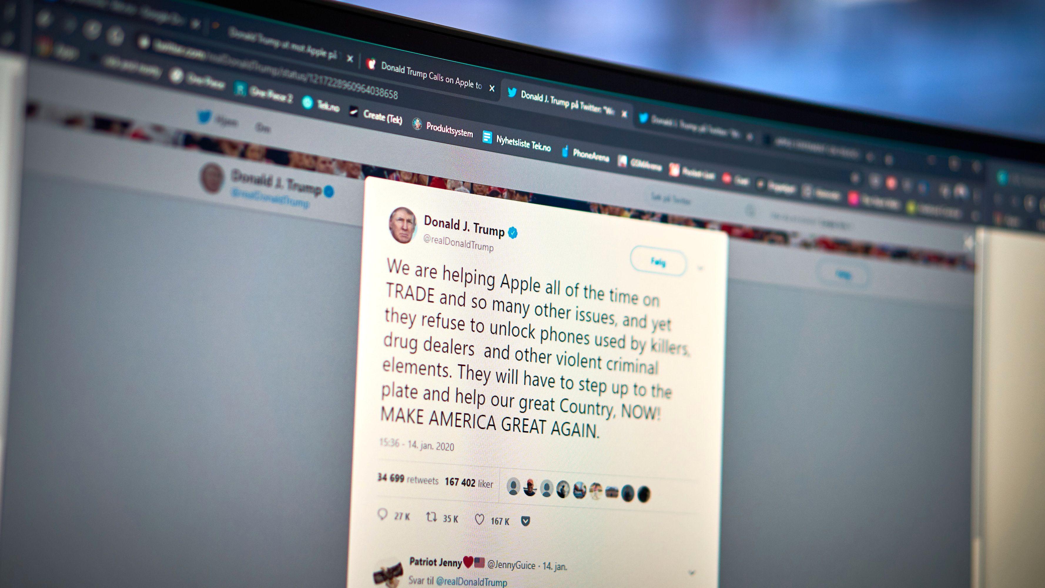 Donald Trump: – Apple nekter å hjelpe oss med å ta forbrytere