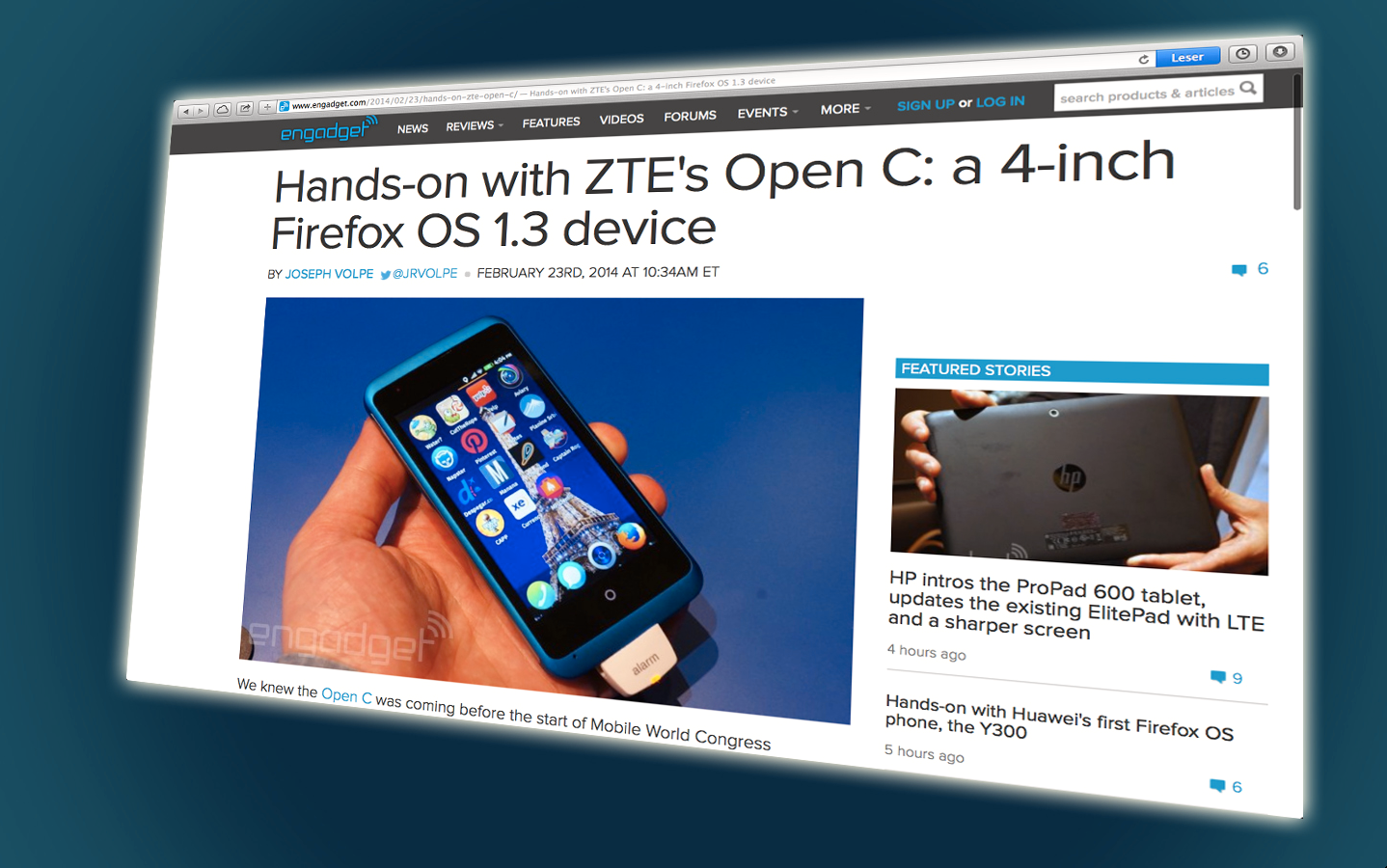 Slik ser ZTE Open C ut.Foto: Faksimile fra Engadget.