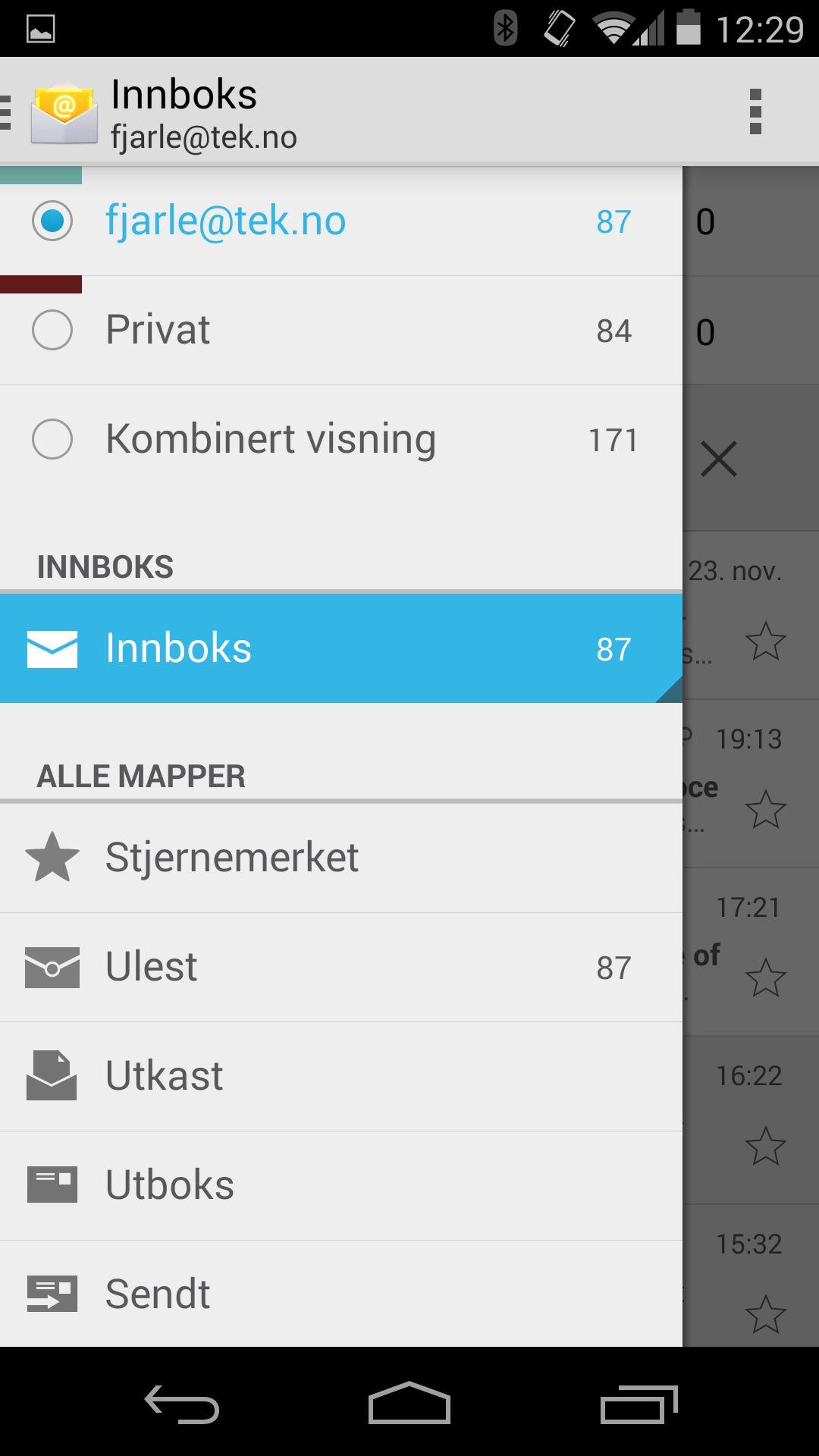 Den nye e-postklienten i Android 4.4 har samme design som GMail-klienten.Foto: Finn Jarle Kvalheim, Amobil.no