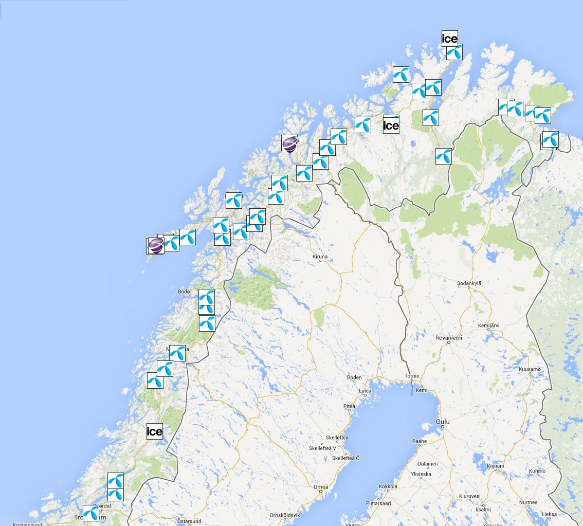 Målepunktene i Nord-Norge.