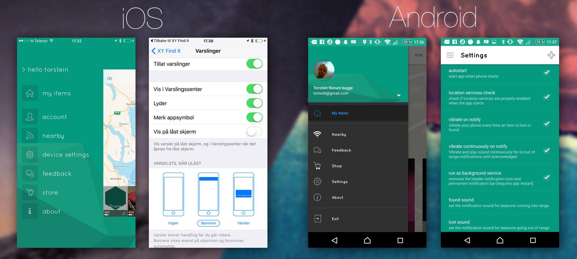 Designet i iOS-appen og Android-appen til XY Find It er ganske forskjellig. Vi er litt ambivalente til hvilken innstillingsmeny som er dårligst. I Android er den rotete, men i iOS blir du kastet ut i selve telefonens meny. Begge delene er dårlig gjennomførte løsninger.