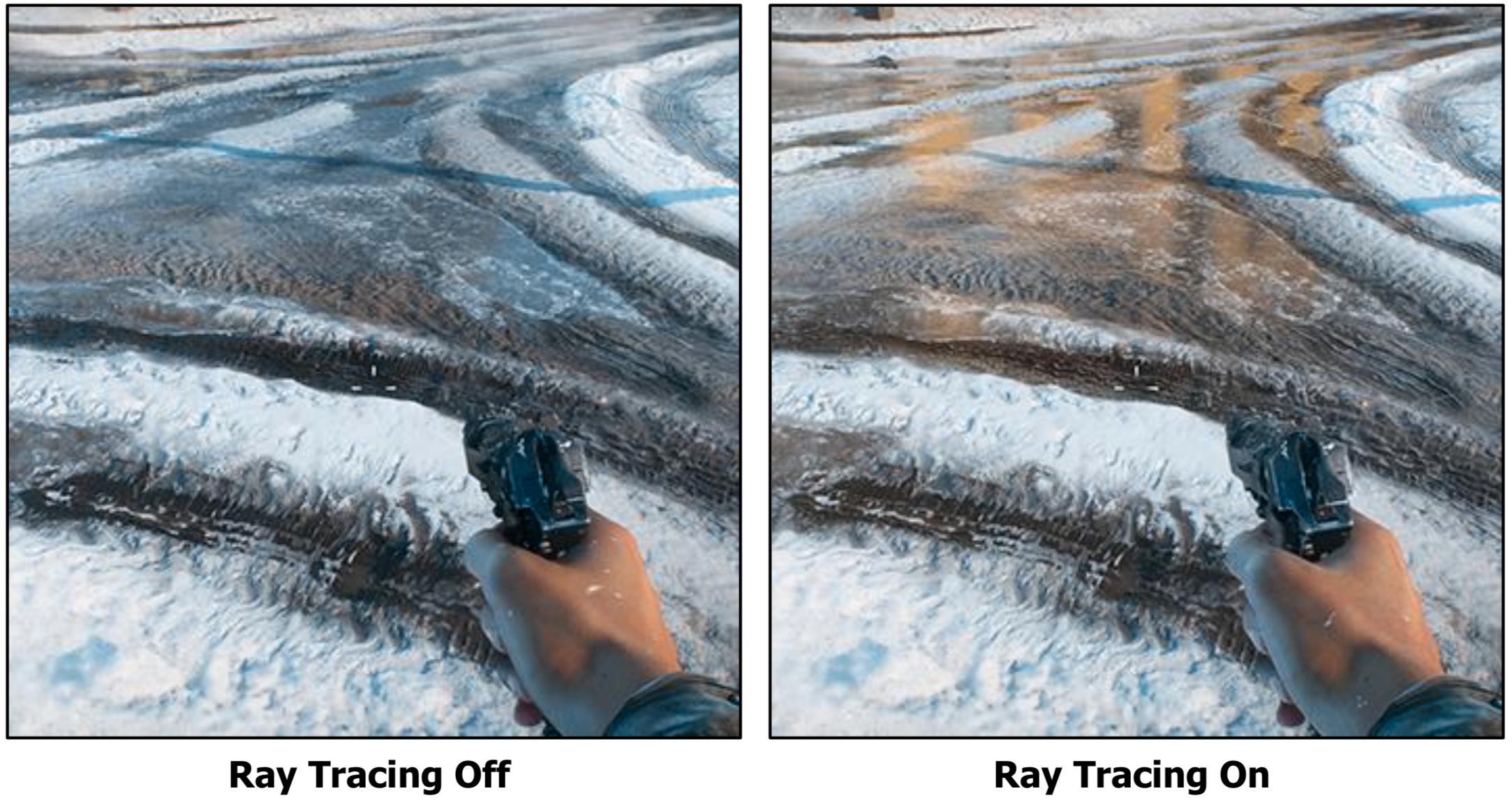 Strålesporing gir økt realisme, som her med refleksjoner i vannpytter. Men til 60 prosent av ytelsen? Da faller interessen raskt.