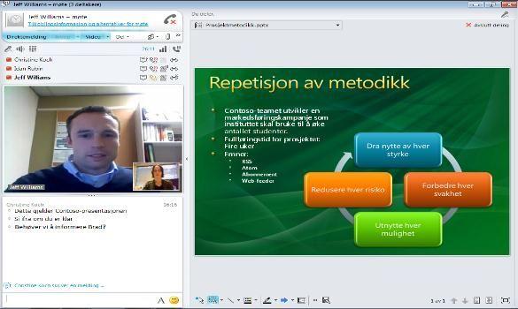 Nettmøtefunksjonen i Lync Online.