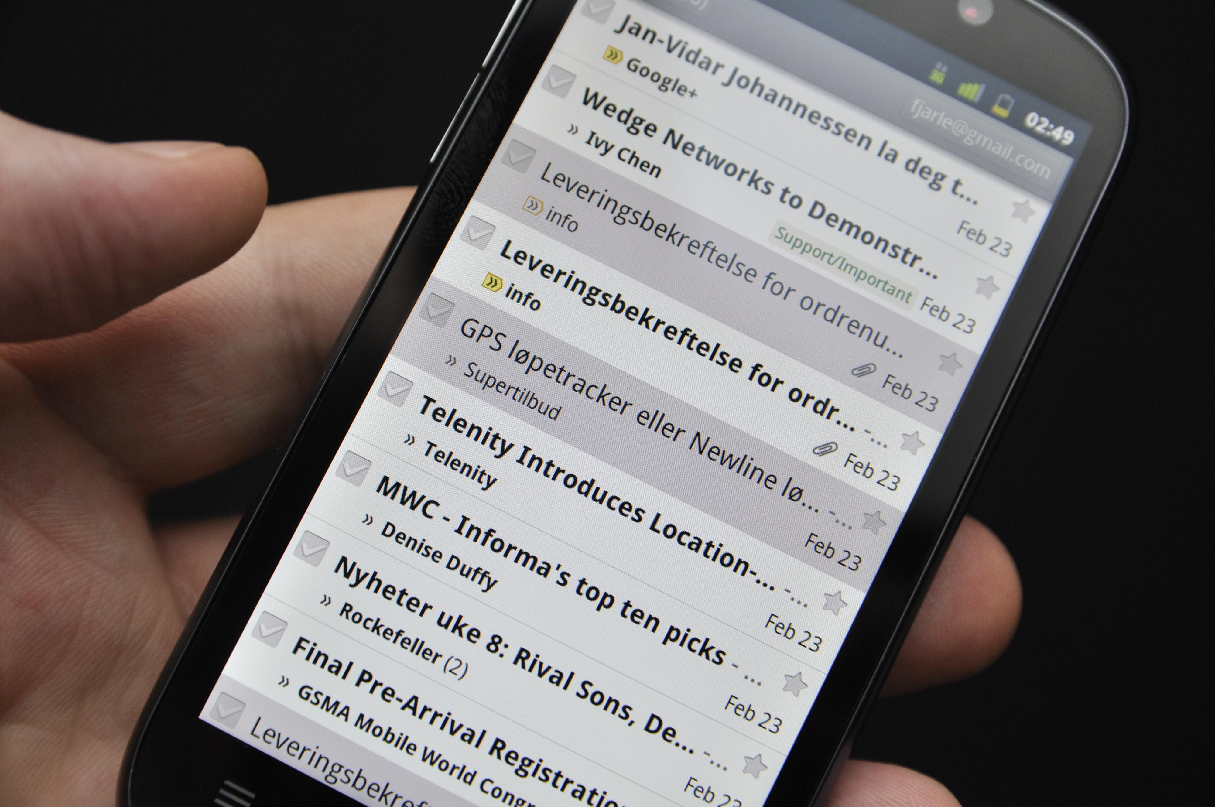 Gmail-applikasjonen slik den kjører på prototypen av Mimosa X.