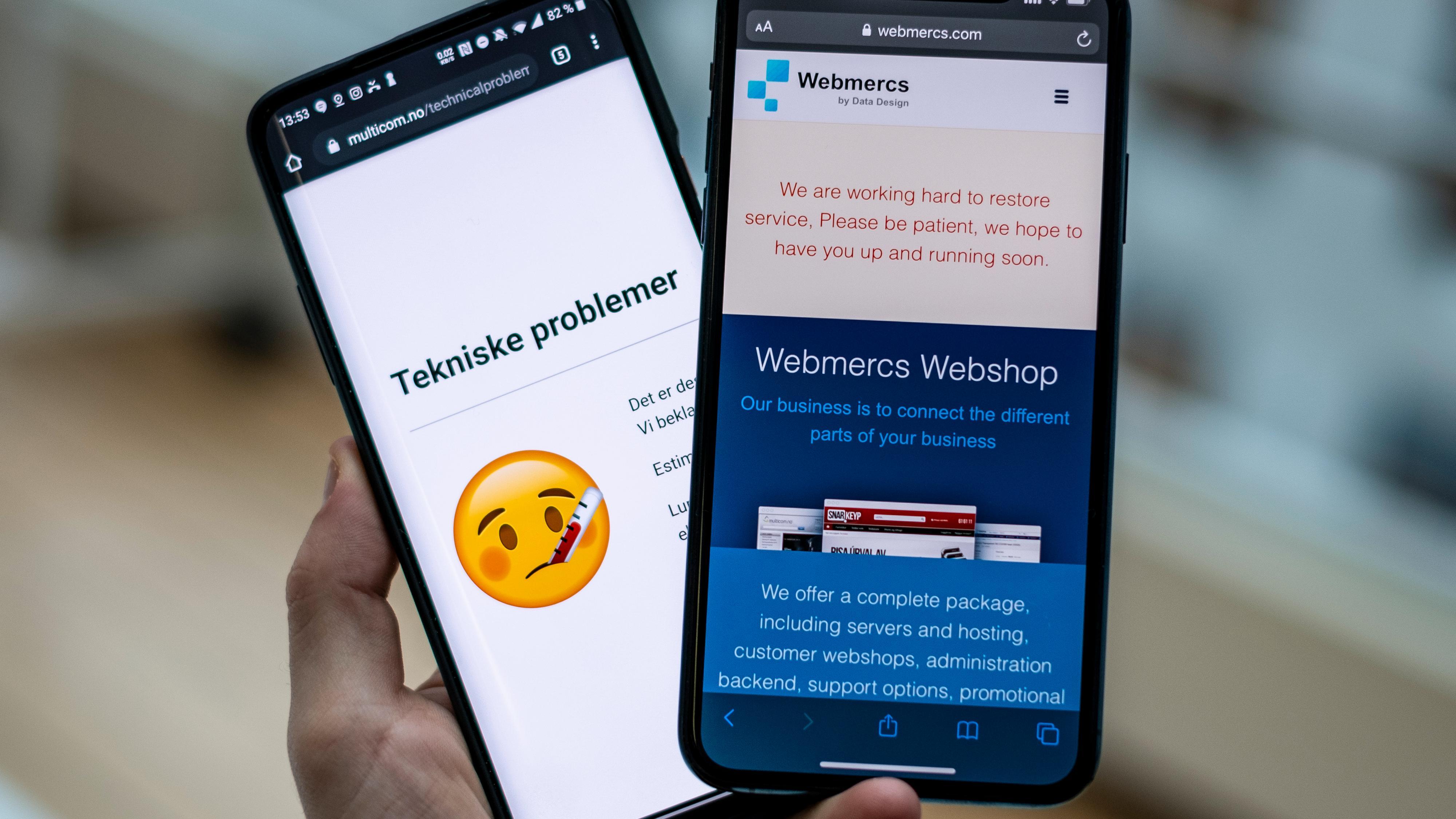 Multicom er blant mange nettbutikker som benytter Webmercs' løsning, og som har vært nede siden onsdag.