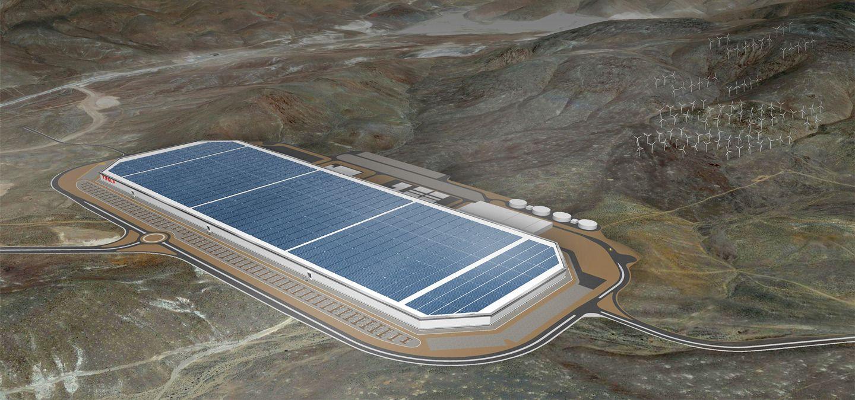 Slik skal en del av Teslas Gigafactory se ut i ferdig tilstand. Det var på dette anlegget de to journalistene befant seg. Foto: Tesla Motors