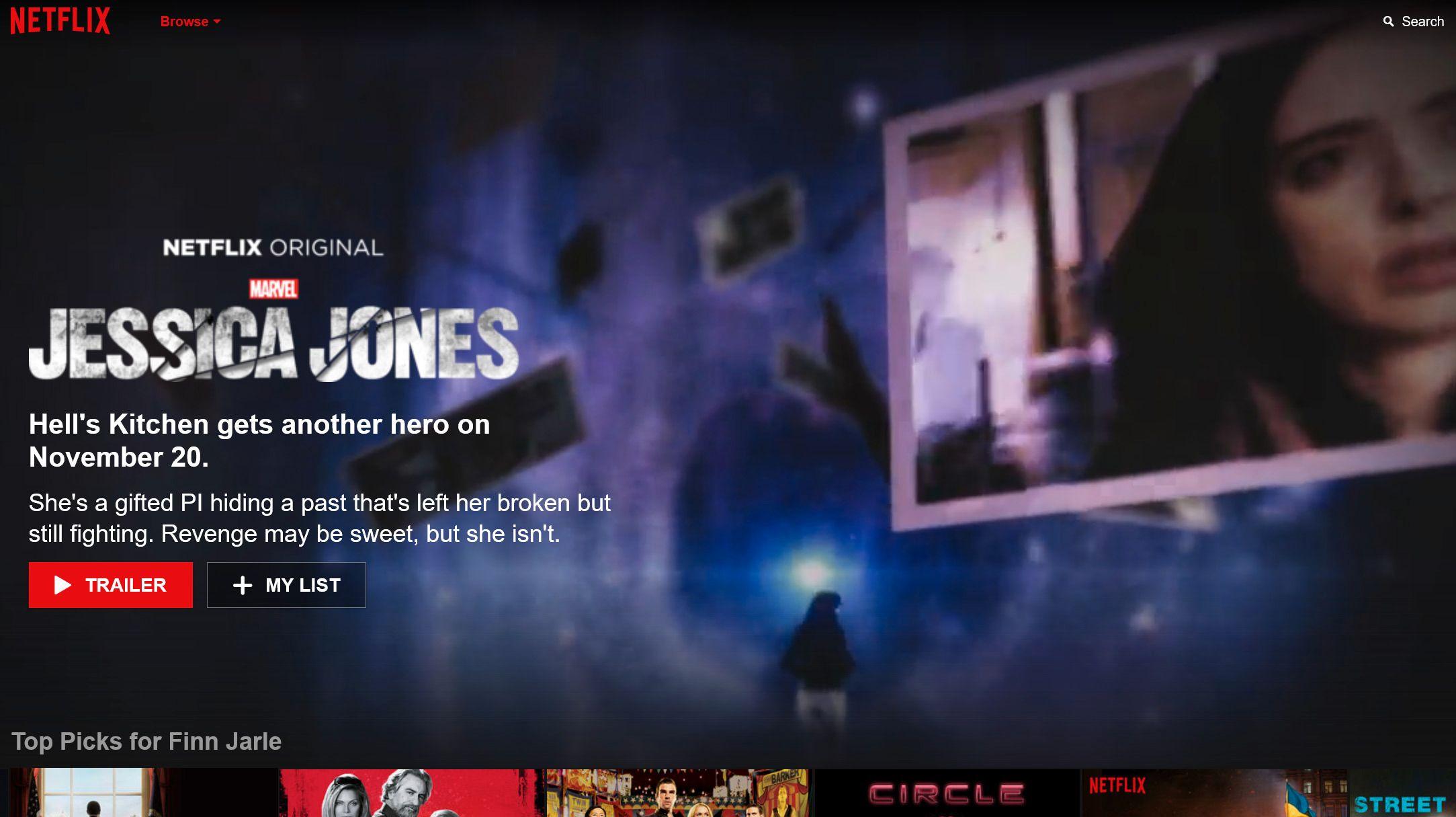 Netflix kan gi deg forhåndsvisning av innhold øverst på TV-skjermen. Foto: Skjermdump