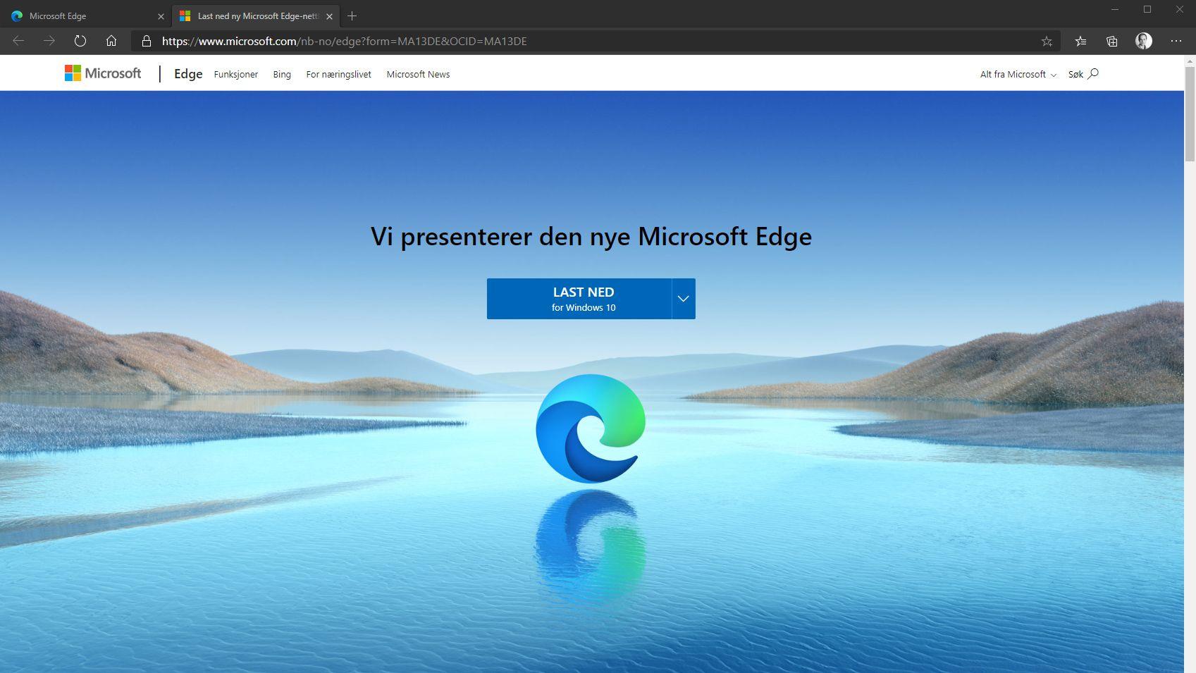 Slik ser den nye Edge-nettleseren ut.