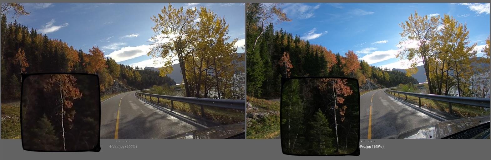I full HD er det stort sett ganske likt, men innimellom ser vi eksempler på at GoPro er tydelig bedre, som i det forstørrende området av bildet over.