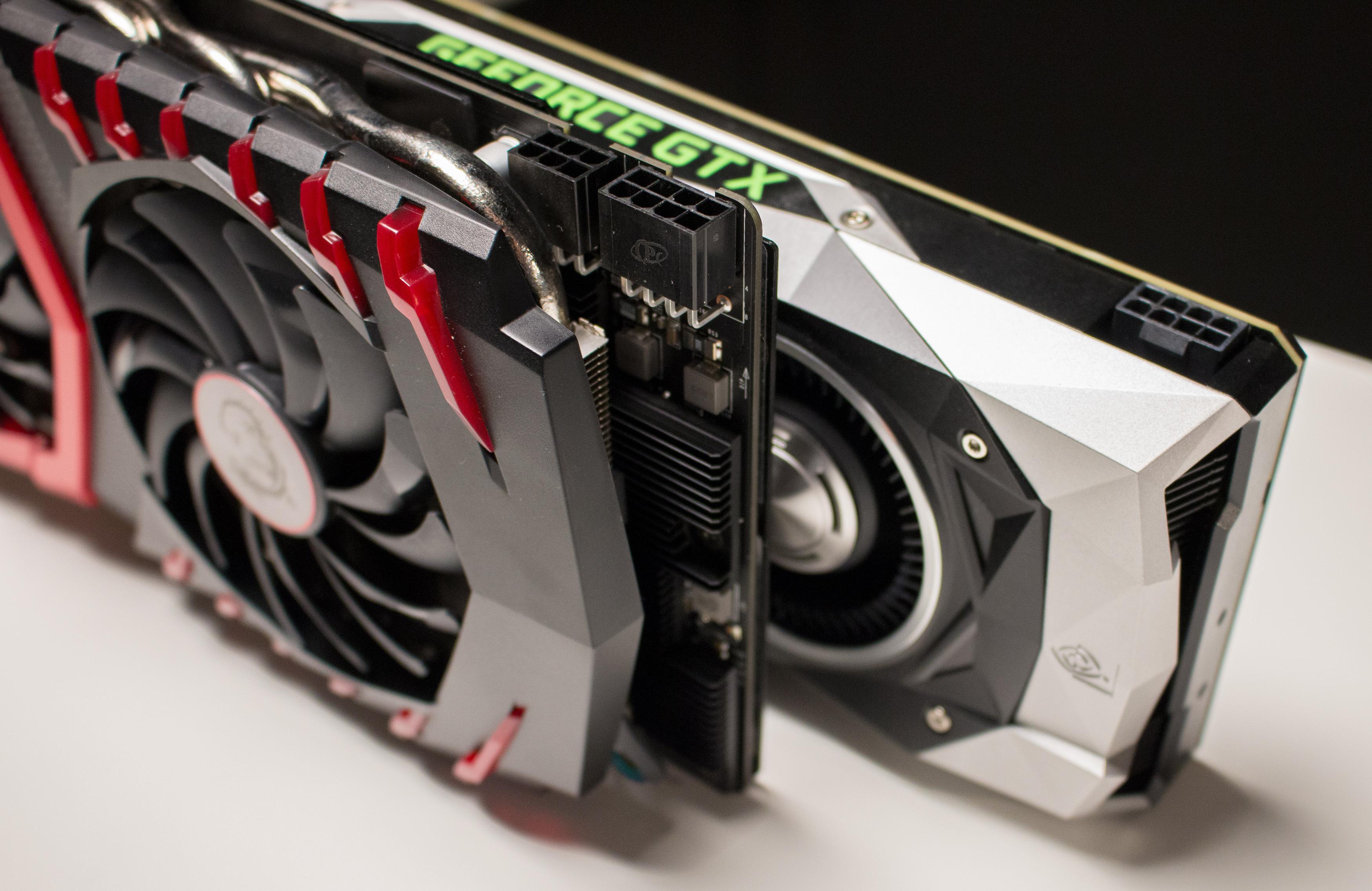 MSI GTX 1080 Gaming X har en ekstra PCIe 6-pinkontakt tilgjengelig. Dette skal hjelpe kortet med å nå høyere frekvenser ved overklokking.