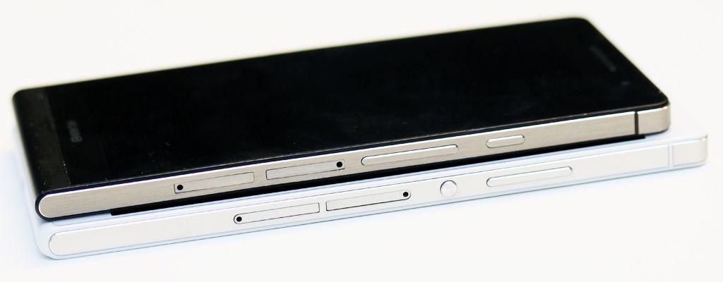 Huawei Ascend P7 er en tanke større enn Huawei Ascend P6 (øverst), men til gjengjeld har den større skjerm med høyere oppløsning, raskere prosessor, LTE (4G) og større batteri.Foto: Espen Irwing Swang, Amobil.no